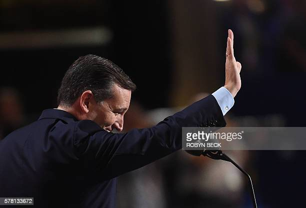 US Senetor Ted Cruz waves from the stage at the Republican National Convention at the Quicken Loans Arena in Cleveland Ohio on July 20 2016 The cost...