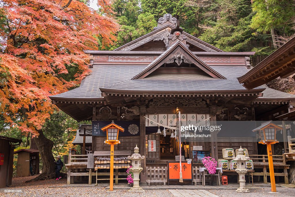 Sengen shrine with autumn tree : Stock Photo