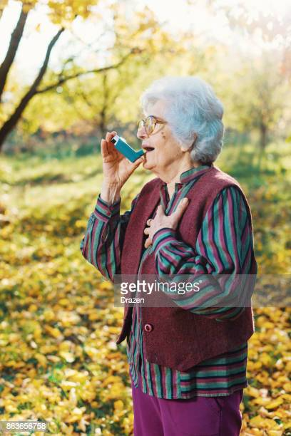 Senior 85 year old woman suffers from asthma