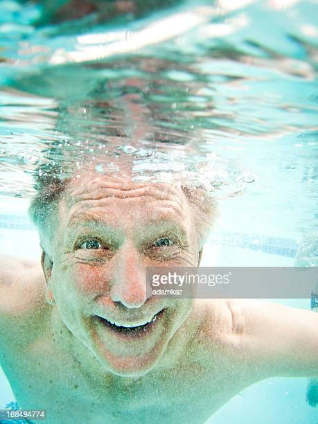Senior Adult Big Smile Underwater