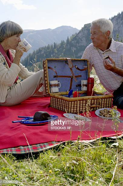 Senior adult couple having a picnic in the mountains, selective focus