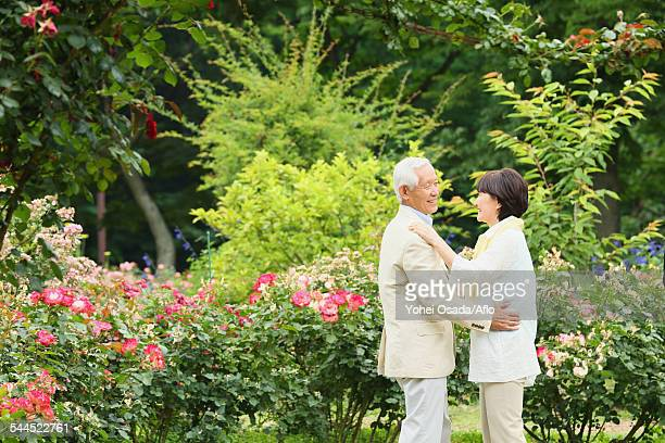 Senior adult couple in a park