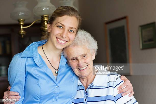 senior adult getting care and assistance