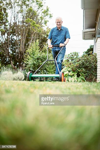 Senior Adult Man Doing Yardwork