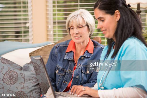 Senior adult woman and home healthcare nurse.