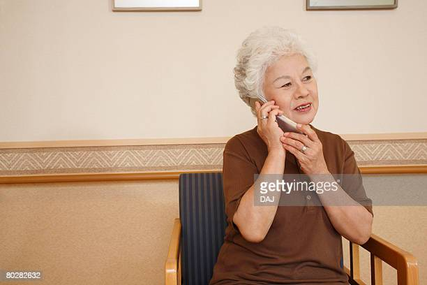 A Senior Adult Woman Talking on the Phone