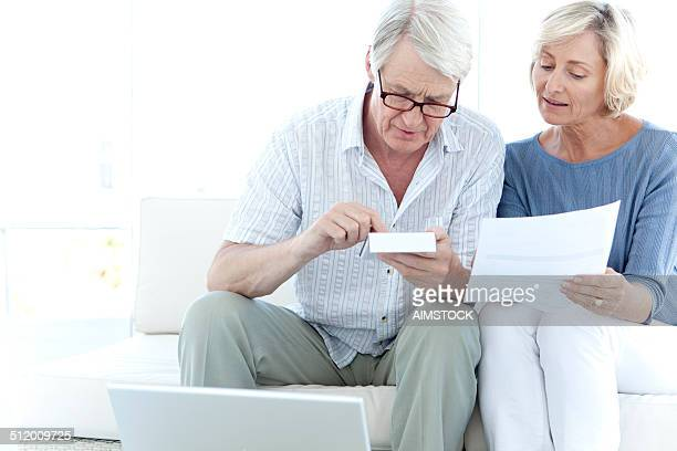 Senior adults doing home finances