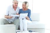 Senior adults doing home finances