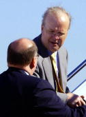 Senior Adviser to US President George W Bush Karl Rove and White House Deputy Chief of Staff Joe Hagin board Air Force One 30 September for a trip to...