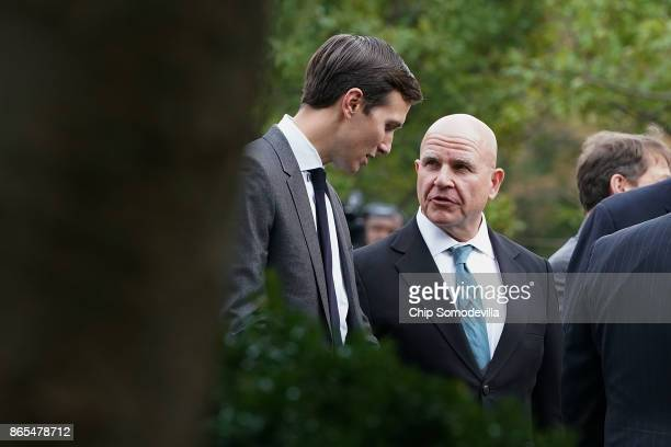 Senior Advisor and soninlaw to US President Donald Trump Jared Kushner talks with National Security Advisor HR McMaster before Trump and Singapore...