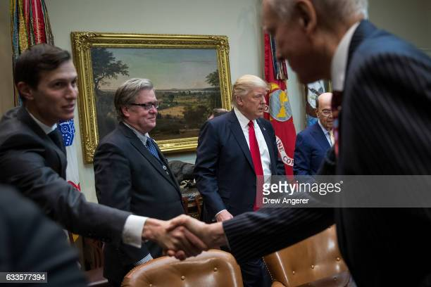 Senior Advisor Jared Kusher White House Chief Strategist Steve Bannon and President Donald Trump arrive at the start of a meeting with Senate and...