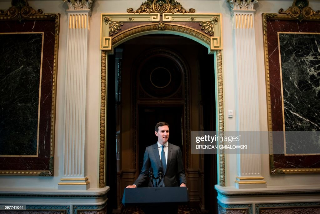Senior Advisor Jared Kushner speaks during an event with technology sector CEOs at the White House on June 19, 2017 in Washington, DC. / AFP PHOTO / Brendan Smialowski