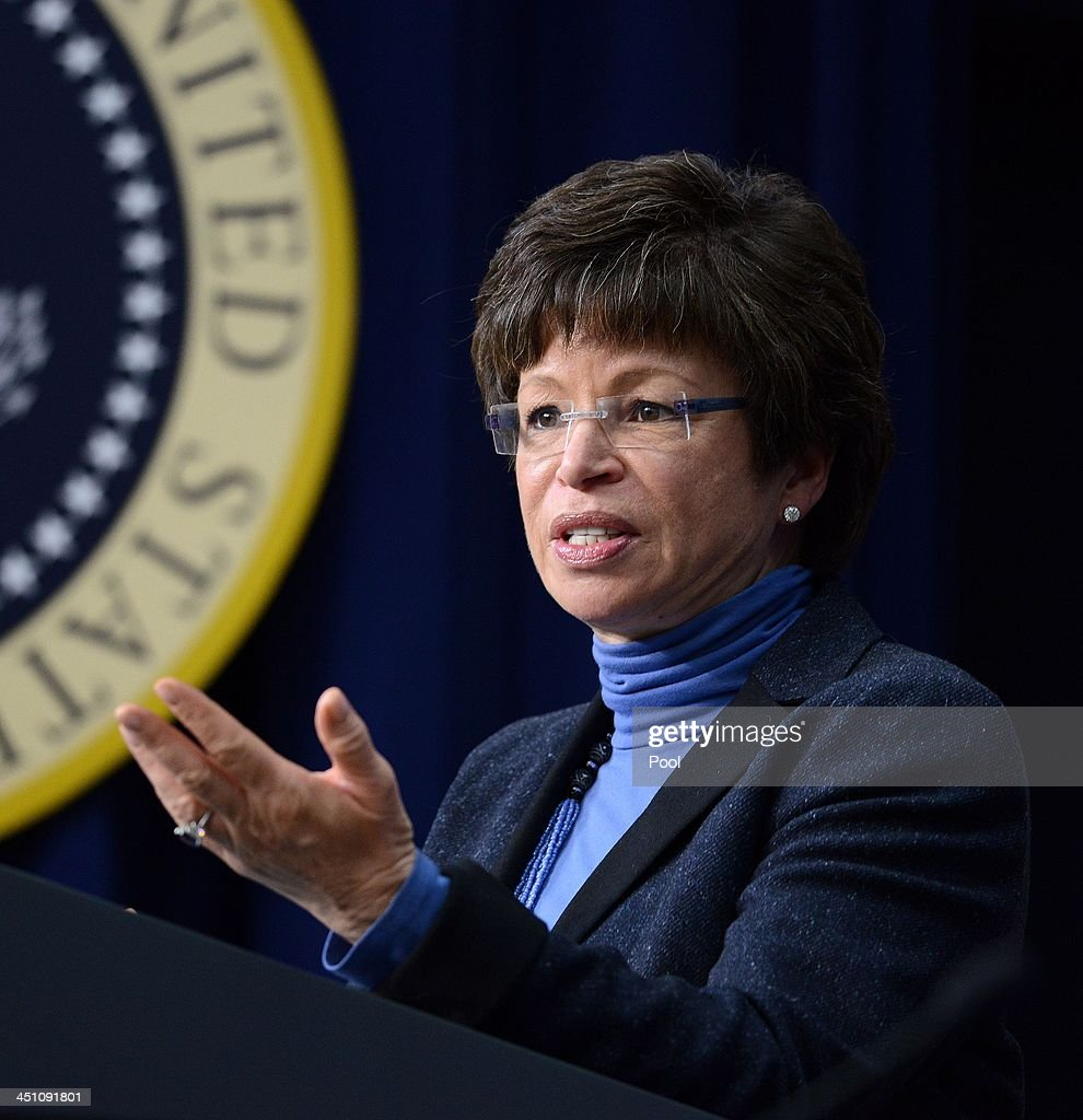 Senior Advisor to President Barack Obama Valerie Jarrett speaks to a group of educators in the South Court Auditorium of the White House November 21, 2013 in Washington, DC. They were being honored as ConnectED Champions of Change for taking creative approaches in using technology to enhance learning for students in communities across the country.