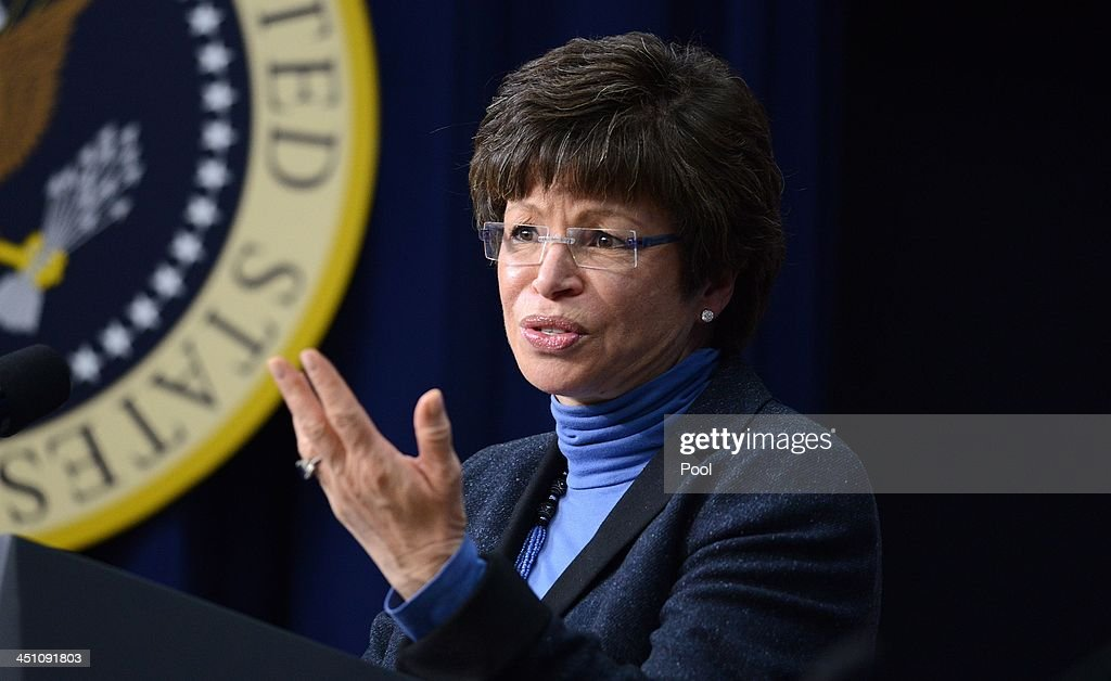 Senior Advisor to President Barack Obama Valerie Jarrett speaks to a group of educators in the South Court Auditorium of the White House November 21...