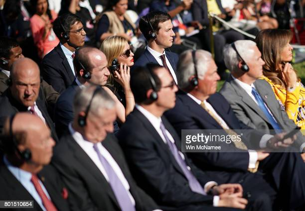 Senior advisor to the Preisident Jared Kushner and his wife Ivanka Trump listen as US President Donald Trump and Indian Prime Minister Narendra Modi...