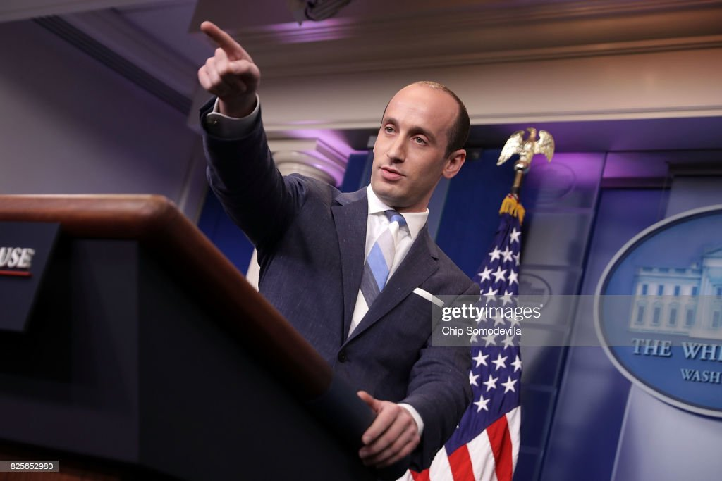 Senior Advisor to the President for Policy Stephen Miller calls on reporters while talking about President Donald Trump's support for creating a 'merit-based immigration system' in the James Brady Press Briefing Room at the White House August 2, 2017 in Washington, DC. Earlier in the day President Donald Trump signed bipartisan legislation into law placing new sanctions on Russia and reducing his ability to lift the sanctions on Moscow.
