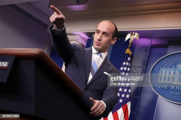 Senior Advisor to the President for Policy Stephen Miller calls on reporters while talking about President Donald Trump's support for creating a...