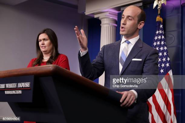 Senior Advisor to the President for Policy Stephen Miller is joined at the podium by White House Press Secretary Sarah Huckabee Sanders as he talks...