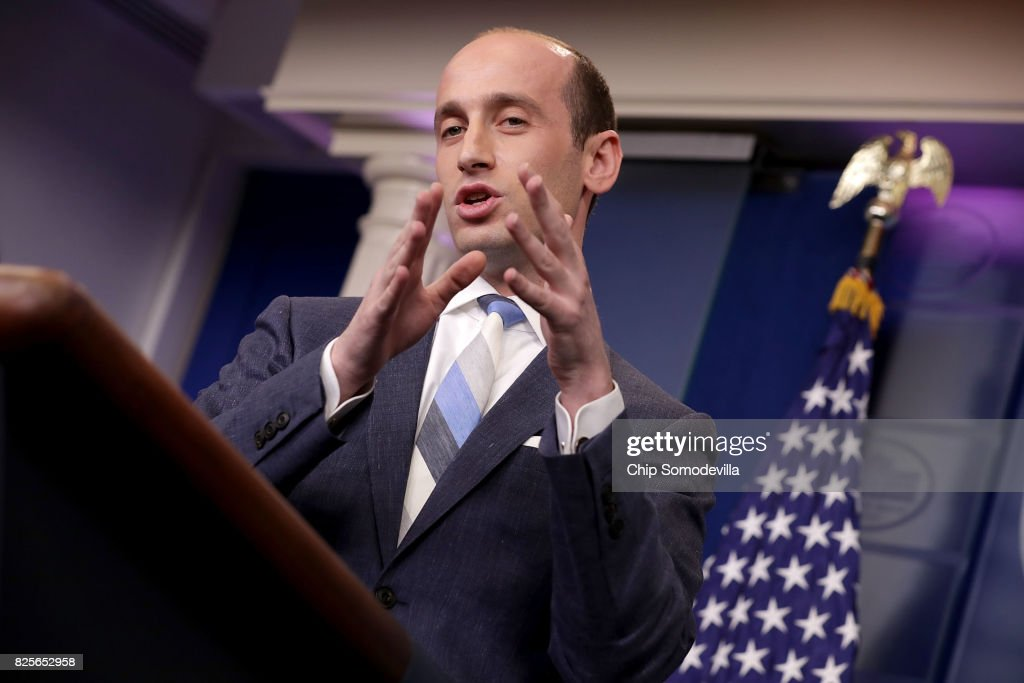 Senior Advisor to the President for Policy Stephen Miller talks to reporters about President Donald Trump's support for creating a 'merit-based immigration system' in the James Brady Press Briefing Room at the White House August 2, 2017 in Washington, DC. Earlier in the day President Donald Trump signed bipartisan legislation into law placing new sanctions on Russia and reducing his ability to lift the sanctions on Moscow.