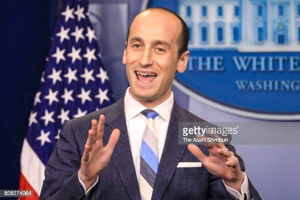 Senior Advisor to the President for Policy Stephen Miller talks to reporters about President Donald Trump's support for creating a 'meritbased...