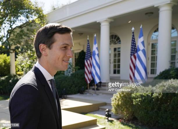 Senior Advisor to the President Jared Kushner departs from the Rose Garden after attending a joint press conference between US President Donald Trump...