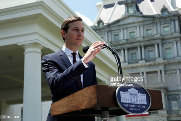 TOPSHOT Senior Advisor to the President Jared Kushner makes a statement from at the White House after being interviewed by the Senate Intelligence...
