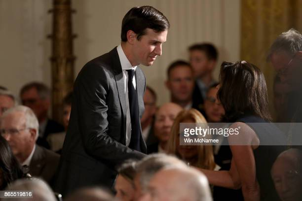 Senior advisor to US President Donald Trump Jared Kushner attends a ceremony awarding US Army Capt Gary Rose of Huntsville Alabama with the Medal of...