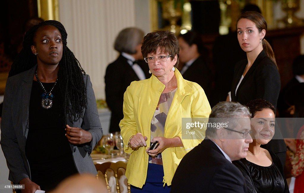 Senior advisor Valerie Jarrett attends attends the annual Iftar dinner celebrating the Muslim holy month of Ramadan hosted by US President Barack...