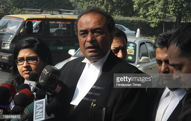 Senior advocate Mukul Rohatgi talks with media after appearing for Ruias outside Patiala House court on February 22 2012 in New Delhi India The...