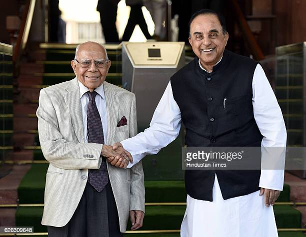 Senior advocate Rajya Sabha MP Ram Jat Malani and Senior advocate Rajya Sabha MP Subramanian Swamy after attending Parliament Winter session on...