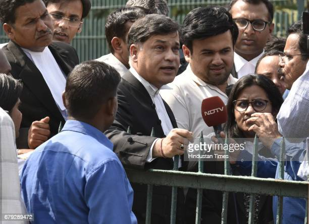 Senior advocate Sidharth Luthra briefing to media persons after the Supreme Court pronounced verdict on the appeals filed by four death row convicts...
