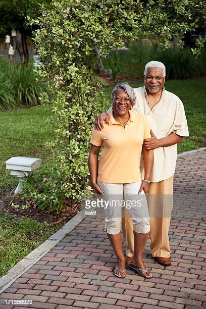 Senior African American couple at park