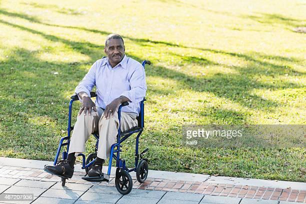 Senior African American man in a wheelchair