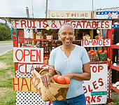 Senior African American woman at farmer's market