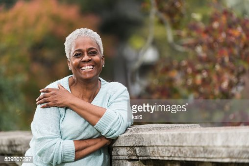 Senior African American woman at the park