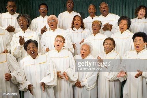 Senior African women singing in a choir