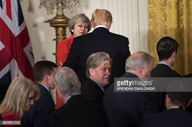 Senior aide to the President Kellyanne Conway Trump advisor Steve Bannon and others leave with British Prime Minister Theresa May and US President...