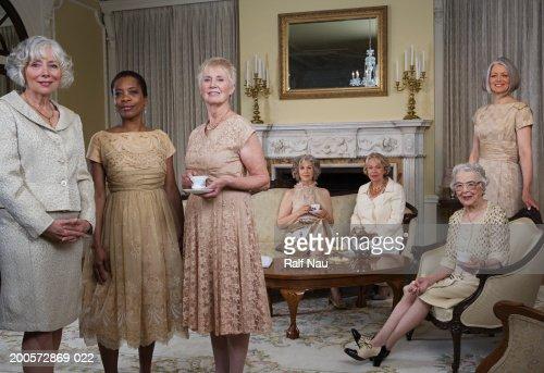Senior and mature women at tea party, portrait : Stock Photo