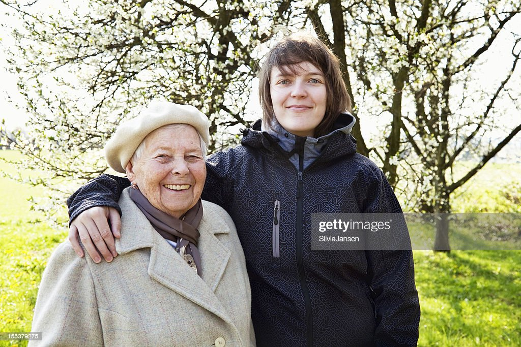 senior and young woman spring happiness