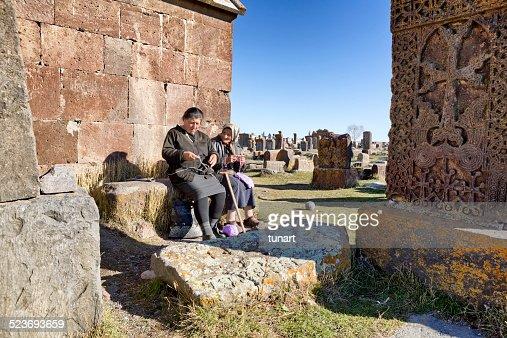 Senior Armenian Women Knitting and Talking