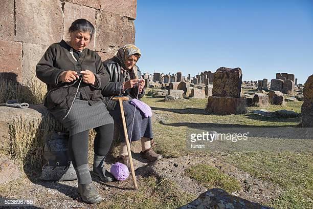 Senior Armenian Women Knitting, Noratus Cemetery, Armenia