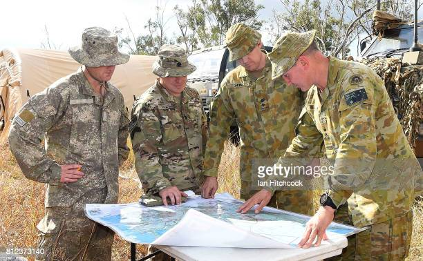 Senior army officers Brigadier Chris Field Lieutenant Colonel Mark Smith Lieutenant Colonel Josh Davis and Lieutenant Colonel Hamish Gibbons examaine...