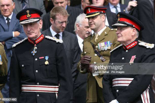Senior army officers family and friends attend the funeral of Northern Irish soldier Lance Corporal Timothy Darren Flowers killed in Basra Southern...