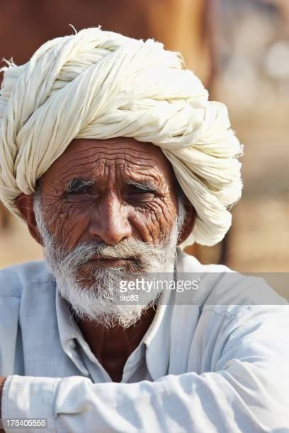 Senior asian bedouin man portrait