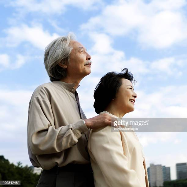 Senior Asian Couple Looking at a View
