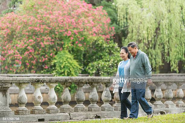 Senior Asian couple walking in the park holding hands