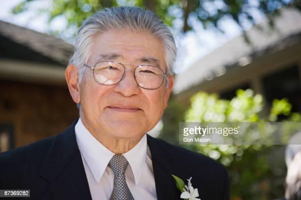 Senior Asian man smiling
