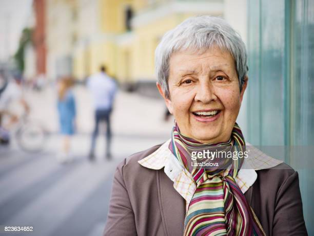 Senior beautiful businesswoman in the city