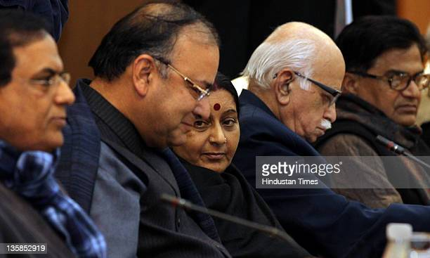 Senior Bhartiya Janta Party Leader Shusma Swaraj Arun Jaitley and LK Advani attend with other opposition party leaders an allparty meeting Lokpal...