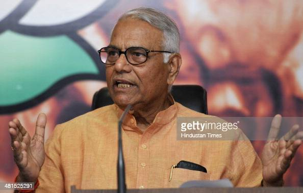 Senior BJP leader and former finance minister Yashwant Sinha addresses a press conference on the economic issue at BJP HQ Office on March 30 2014 in...